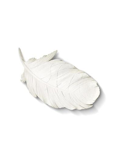 The Mia Dekoratif Tüy Askılı - 41 Cm Beyaz Beyaz
